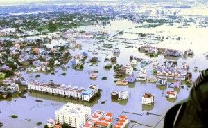 Aerial photo of Chennai, India after severe rain and floods